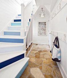 Blue Painted Staircases with a Coastal Nautical Beach Vibe - Coastal Decor Ideas Interior Design DIY Shopping Coastal Living Rooms, Coastal Homes, Coastal Decor, Beach Homes, Coastal Colors, Coastal Furniture, Coastal Style, Bedroom Furniture, Painted Staircases