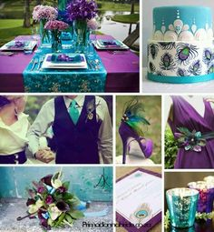 Purple and Teal Wedding decor. The table clothes and the bridesmaid sash are really cute :)