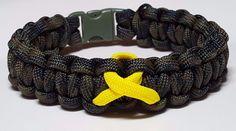 Military Troop Support Woodland Camoflauge Yellow Loop Paracord Bracelet #handmade #Awareness