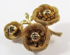 Vintage 1950s Signed Hobe Gold Toned Mesh Floral by GildedTrifles