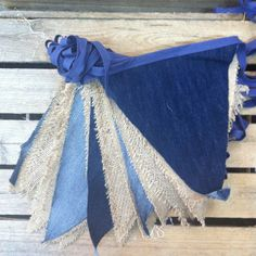 Denim and hessian wedding bunting hire by Emma Bunting