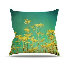 Kess InHouse Sylvia Cook Yellow Flowers Teal Sky Indoor / Outdoor Throw Pillow - SC1040AOP0