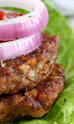 KIDNEY BEAN BURGERS. With added ground nuts to up the protein, the carbs are complex and fiber-filled.   On a toasted whole grain bun or plain with all the fixings, these make a very filling meal.  (They are even better as leftovers.)