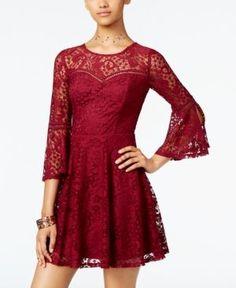 Bcx Juniors' Crochet Lace Fit & Flare Dress - Red 13