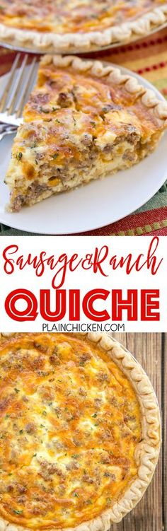 Sausage and Ranch Quiche - so quick and easy. Everyone LOVED this recipe! Can make ahead and freeze for later. Pie crust sausage ranch dressing cheddar cheese heavy cream eggs and pepper. Ready to eat in an hour. Great for breakfast lunch or dinne Breakfast Quiche, Breakfast Items, Breakfast Dishes, Best Breakfast, Breakfast Recipes, Quiche Muffins, Chicken Breakfast, Sausage Breakfast, Vegan Breakfast