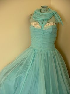 Robins Egg Blue Strapless Formal Dress 1940s or 1950s