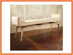 Flexible and Stylish Living Room Bench Seats : Simple Modern Contemporary Home Furniture Of Upholstered Bench Designed With Tapered Light Brown Wooden Legs On The Brown Parquet Floor