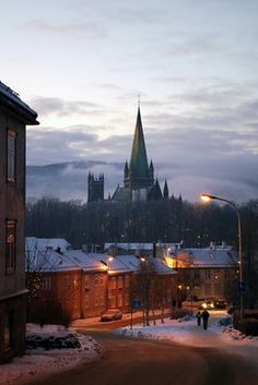Trondheim, Norway (I'e walked these streets many times, and lived just down this path by the river)