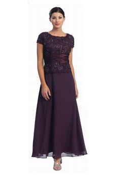 Dark purple eggplant plus size mother of the bride dresses with short sleeves