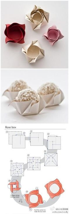 How to fold cute rose boxes for cup cakes step by step DIY tutorial instructions / How To Instructions