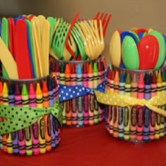 These crayon utensil holders are such a great idea for an art party rainbow party back-to-school or just to make your kids craft area cute! Theyre made using empty soup cans (upcycle alert!) and a large box of crayons. You could put utensils in them . Elmo Birthday, Rainbow Birthday, First Birthday Parties, Birthday Party Themes, First Birthdays, Birthday Ideas, Rainbow Theme, Artist Birthday Party, Rainbow Parties