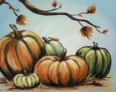 Pumpkins and Trees On Canvas   Three Hour Paintings