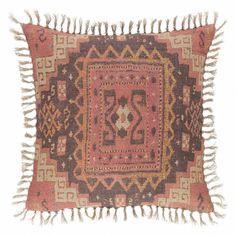 We've added to our caravan of delights with this Turkish carpet-inspired laundered linen print. Create your own Arabian Night's dream upon this uniquely knotted and fringed decorative pillow. Decor, Pillows, Dog Bed Storage, Printed Linen Fabric, Kilim, Dash And Albert Rugs, Moroccan Decor Living Room, Bohemian Rug, Decorative Pillows