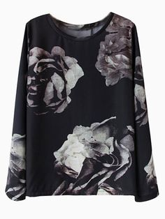 Black Digital Print Rose T-shirt | Choies