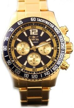Men's Wrist Watches - Invicta Mens Signature II Collection Chronograph Gold Tone Stainless Steel Bracelet Watch 7410 -- You can find out more details at the link of the image. (This is an Amazon affiliate link)