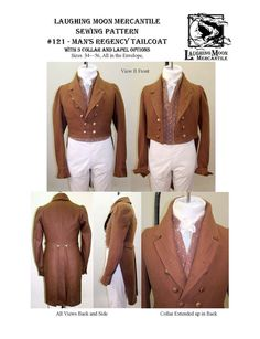 Men's Regency Tailcoat Size 34-56 1810-1830 Laughing Moon Costume Sewing Pattern 121