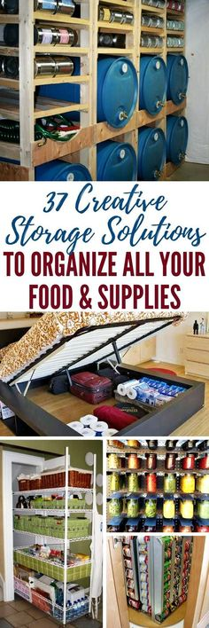 37 Creative Storage Solutions to Organize All Your Food & Supplies — One challenge we all seem to face is how best to store our stuff. Being prepared means having a large stock of necessities (and some luxuries) on hand. It also means you need to figure out how to maximize your storage space, so you actually have some room to live.