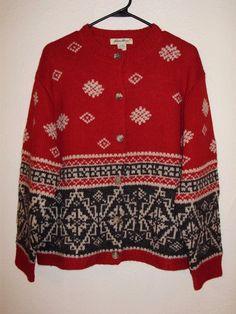 EDDIE BAUER Women's Red Wool Alpaca Nordic Snowflake Cardigan Sweater Large #EddieBauer #Cardigan #Christmas