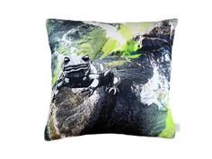 #salamander #water #digital #cushion #grey #green #white #organic // #wasser #kissen #grau #grün #weiss #bio