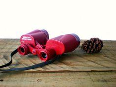 Red Binoculars Tasco Mirror Prism Camping Gear by HoundDogDigs,