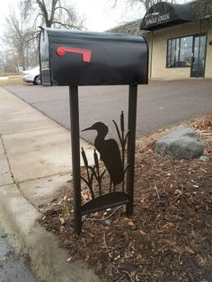 Custom iron mailbox stand with plate steel cut out