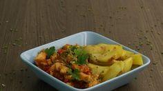 Pfannen-Schaschlik mit Ofenkartoffeln
