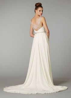 Chic Column V-neck Chapel Train Chiffon Wedding Dress with Appliques and Beading [Wedding-5691] - $179.99 : Buy Wedding Dresses, Bridesmaid Dresses and Prom Dresses with the lowest price
