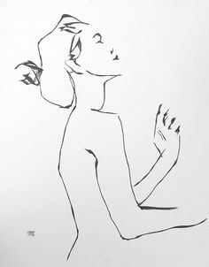 Large expressive contemporary minimal line female figurative ink drawing 2