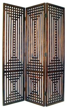 The Sarawak Screen is a piece of sculpture as well as a functional piece of furniture. Named after a region in Malaysia it brings a feel of the islands melded with art deco flair. The three-panel screen has wood slats arranged in an intricate geometric pattern.