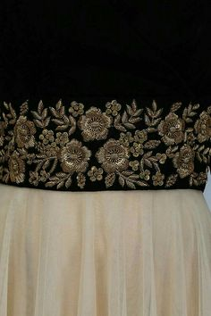 Vineti Bolaki presents Nude and black floral gold zardozi embroidered flared gown available only at Pernia's Pop Up Shop. Zardosi Embroidery, Hand Embroidery Dress, Couture Embroidery, Embroidery Suits, Indian Embroidery, Gold Embroidery, Embroidery Fashion, Hand Embroidery Designs, Embroidery Blouses