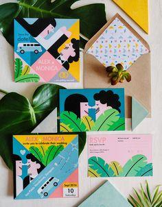 Playful, colorful wedding invitation