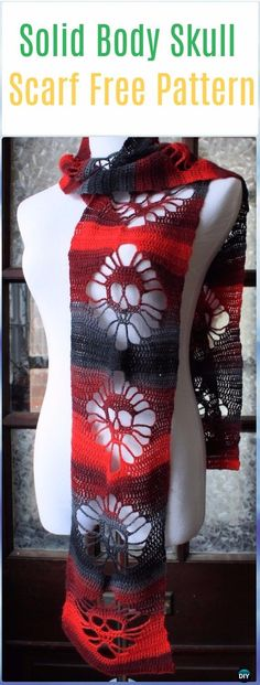 Crochet Solid Body Skull Scarf Free Pattern - Crochet Skull Ideas Free Patterns