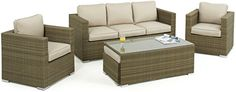 Maze Rattan 3 Seater Tuscany Sofa Set in a Weave - Natural Tone (6-Piece)