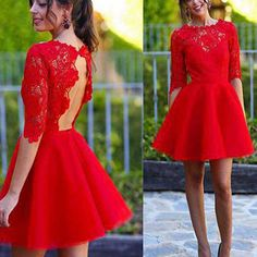 Homecoming Dresses, Red Dresses, Lace Dresses, Red Homecoming Dresses, Open Back Dresses, Lace Homecoming Dresses, Tulle Dresses, Red Lace Dresses, Sleeve Dresses, Half Sleeve Dresses