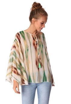 Green blouse in variegated stripe print