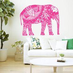 Wall Decal Vinyl Sticker Decals Art Home Decor Design Murals Indian Elephant Floral Patterns Mandala Tribal Buddha Ganesh Bedroom Dorm