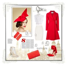 """""""Red Coat"""" by sinitsa58 ❤ liked on Polyvore featuring River Island, Harris Wharf London, Givenchy, Hermès, Chicwish, Christian Louboutin and Bella Belle"""