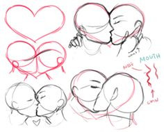 how to draw kissing