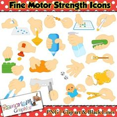 Fine Motor Skills Icons Clip art set - perfect visuals, cues and directions for children. Also look great as posters/labels for workstations etc.You will get the following clip art:1. Clothes pin2. Cotton swab3. Dressing a doll4. Hole punch5. Lacing card6.