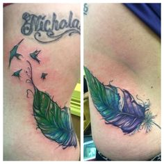Water color feather.  Artist: Chuck Schmidt The parlor tattooing  2024 Washington ace.  Saint Joseph MI 269-281-0367 FB: the parlor tattooing