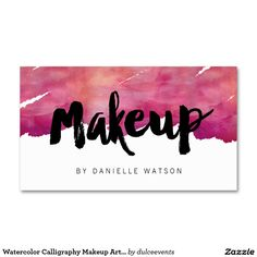 Watercolor Calligraphy Makeup Artist Business Card