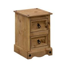 Corona 2 Drawer Petite Bedside Cabinet Table In Rustic Mexican Style Elegantly displaying the natural warmness of its solid pine material, this small two drawer bedside cabinet will fit effortlessly into any traditional interior. Finished with a Antique Pine Furniture, Pine Bedroom Furniture, Antique Wax, Table Furniture, Furniture Design, Bedside Cabinet, Nightstand, Wooden Bedside Table, Bedside Tables