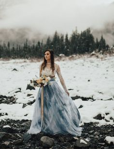 Ice Cave Elopement Inspiration at the Big Four Ice Caves in the Pacific Northwest // Sweet Caroline Styles Dress