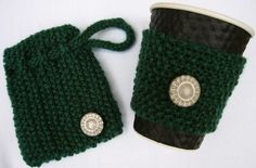 Handknit Coffee Cozy Coffee Sleeve with Gift Bag by Maxiesknitwear, $15.00