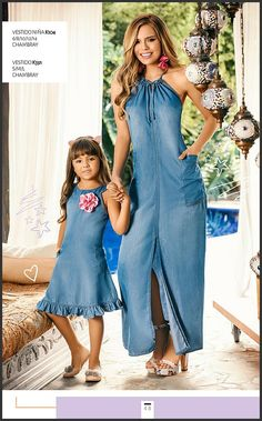 Demin Dress, Denim Outfit, Mother Daughter Fashion, Blue Jean Dress, Hoodie Dress, Couture, Summer Dresses For Women, Dress Patterns, Casual Winter Outfits