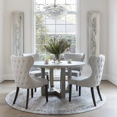 Pacifica Round Dining Table - Dining In The Round - Dining Room - Room Ideas. The Pacifica Round Dining Table takes advantage. Dining Room Table Decor, Elegant Dining Room, Luxury Dining Room, Dining Room Design, Living Room Decor, Round Dinning Room Table, Grey Dining Room Chairs, Dinning Room Furniture Ideas, Office Chairs