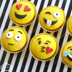 Put down the phone, pick up the cake tools and learn to make six expressive fondant toppers for adorable emoji cupcakes - on Craftsy! Fondant Cupcakes, Kid Cupcakes, Fondant Toppers, Cupcake Cookies, Cupcake Emoji, Indian Cake, Salty Cake, Cake Decorating Tips, Savoury Cake