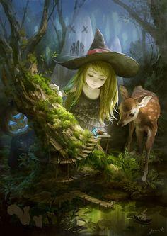 Little Witch, illustration by Yuukikuchi Fantasy Magic, Fantasy World, Magical Creatures, Fantasy Creatures, Photo D Art, Fantasy Kunst, Witch Art, Fairy Art, Halloween Art