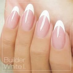 Crystal Nails White builder gels BEAUTIFUL almond shaped extended nailbed French Mani