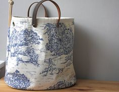 Knitting bag blue toile LAST ONE by SimpleSmiles on Etsy, $70.00